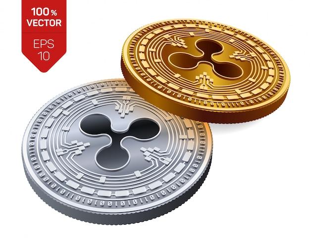 Goldene und silberne kryptowährungsmünzen mit welligkeitssymbol lokalisiert auf weißem hintergrund.