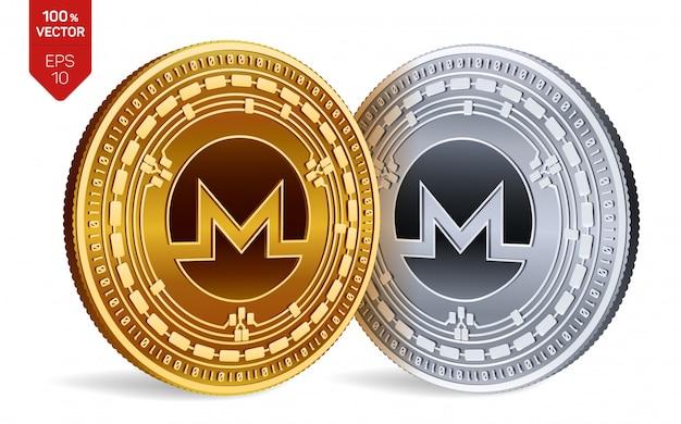 Goldene und silberne münzen mit monero-symbol isoliert