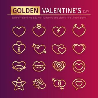 Goldene valentinsgruß-tagesikonen eingestellt