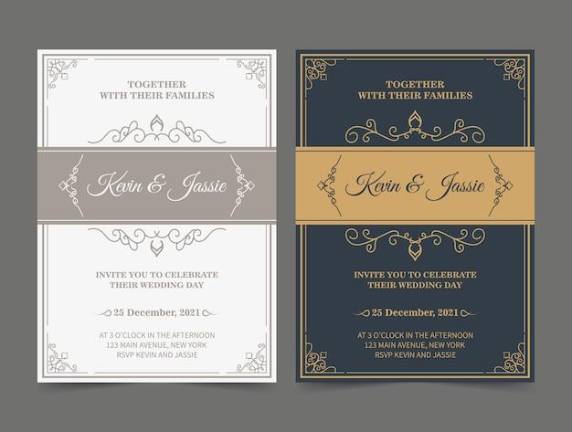 Goldene vektoreinladungskartenschablone der luxusweinlese