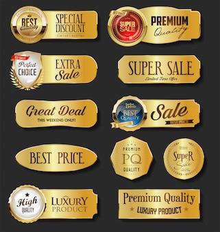 Goldene verkaufsetikettenkollektion auf schwarzem hintergrund