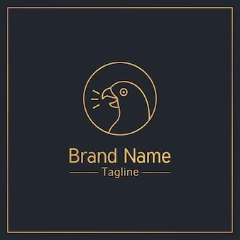 Goldene verspielte logo-schablone des sprechenden papageien