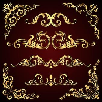 Goldene verzierte seitendekorelemente