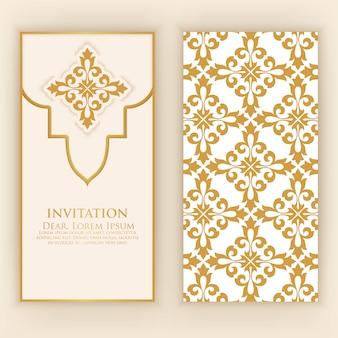 Goldene verzierungs-einladungsschablone