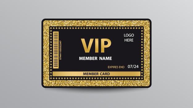 Goldene vip-kartenvorlage mit glitzer