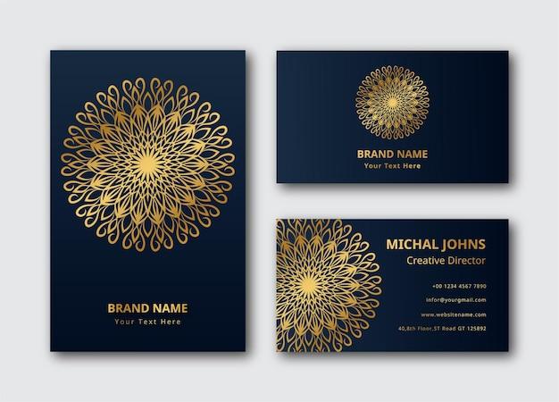 Goldene visitenkarte mit blumenmandala eps