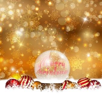Goldene weihnachten hintergrund mit kristallbaumkugel