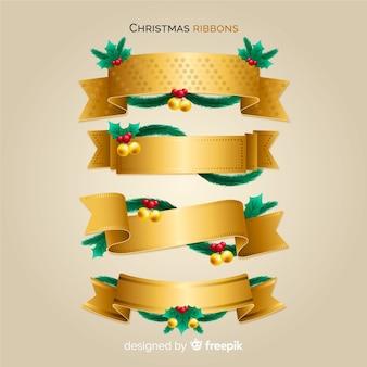 Goldene weihnachtsbänder eingestellt
