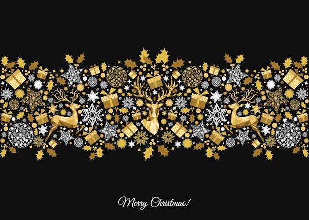 Goldene weihnachtsbaumdekoration auf schwarzem hintergrund. frohes neues jahr und weihnachtsmuster. goldene rentiere und schneeflocken. vektorvorlage für grußkarten oder partyeinladungen.