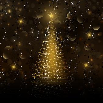 Goldene weihnachtsbaumkarte
