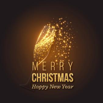Goldene weihnachtsdekoration mit champagnerspritzer