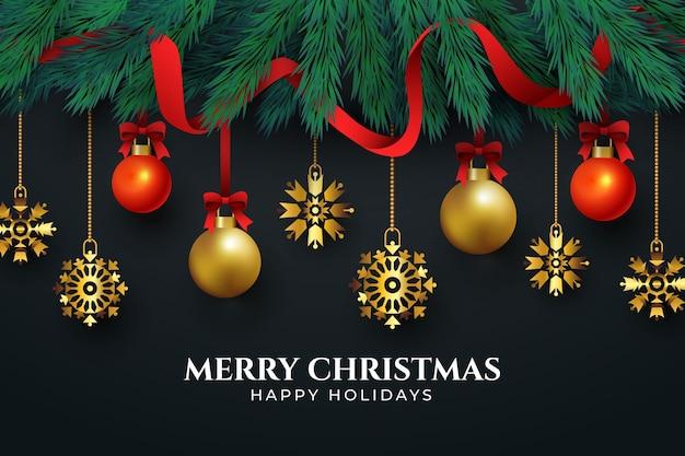 Goldene weihnachtsdekorationen auf schwarzem hintergrund