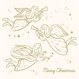 Goldene weihnachtsengelssammlung