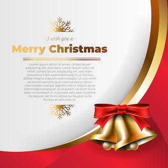 Goldene weihnachtsglocken mit einem roten bogenhintergrund