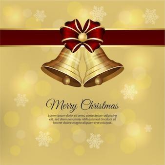 Goldene weihnachtsglocken mit roter schleife hintergrund