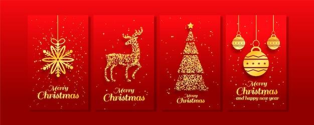 Goldene weihnachtskartensammlung