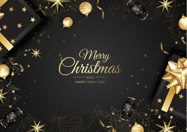 Goldene weihnachtskugel-grußkarte