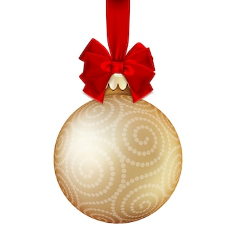 Goldene weihnachtskugel.
