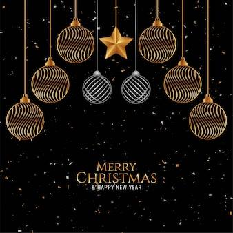Goldene weihnachtskugeln für frohe weihnachten hintergrund