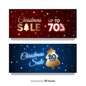 Goldene weihnachtsverkaufsfahnen