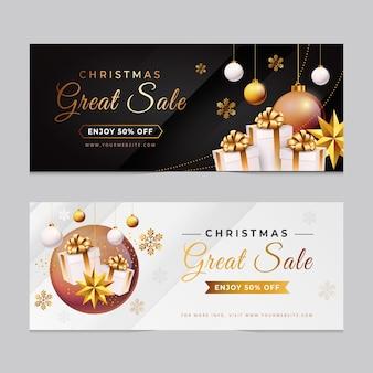 Goldene weihnachtsverkaufsfahnenschablone