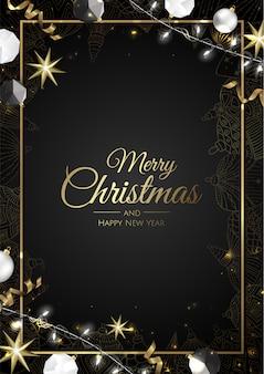 Goldene weihnachtsverzierungs-rahmengrußkarte