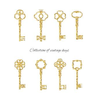 Goldene weinleseschlüssel eingestellt mit funkeln