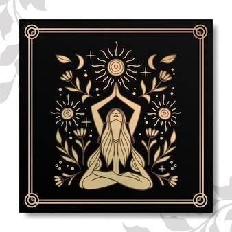 Goldene yoga-frauen-serie vektor-pack-elemente