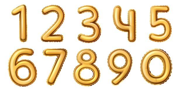 Goldene zahlballons. realistisches zahlenalphabet für geburtstag, jubiläum oder neujahrsfeier. goldfolienballon 0 bis 9 vektorsatz für alter oder datum. festliche und glänzende dekoration