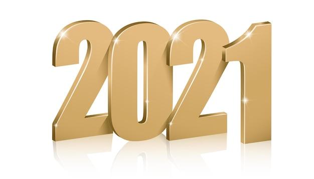 Goldene zahlen 2021, frohes neues jahr.