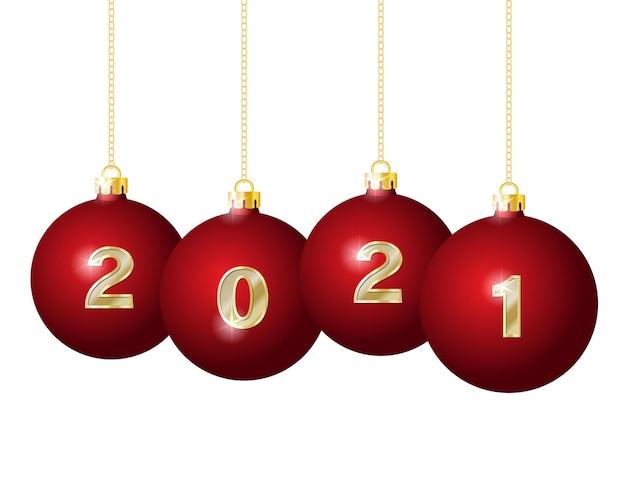 Goldene zahlen auf roten weihnachtskugeln, die an goldenen ketten hängen