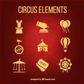 Goldene zirkuselemente packen im flachdesign