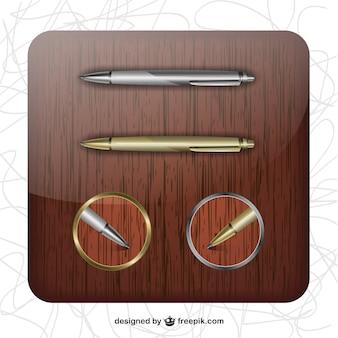 Goldenen und silbernen kugelschreiber