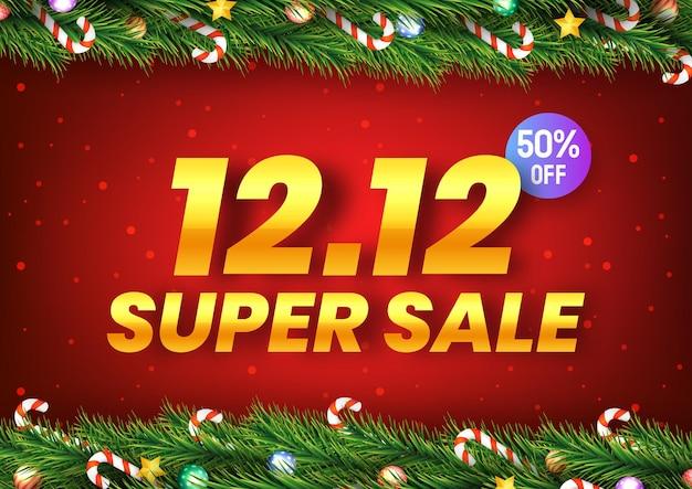 Goldener 12. dezember super sale-einkaufstag mit weihnachtsbaumzweigen auf rotem hintergrund