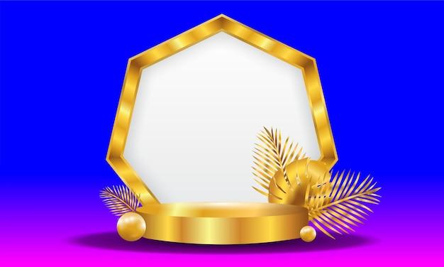 Goldener 3d-objekthintergrund
