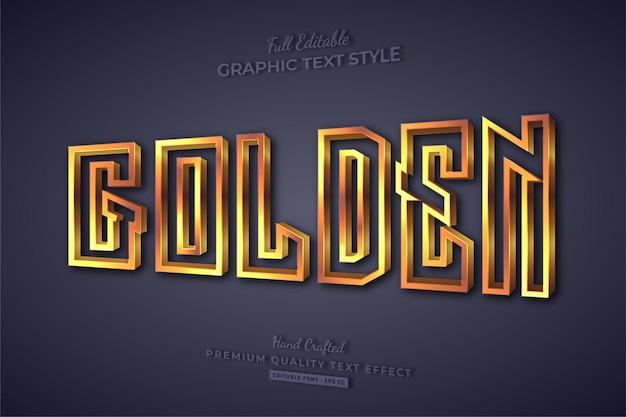 Goldener 3d-schriftstil mit bearbeitbarem texteffekt
