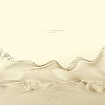 Goldener abstrakter linienhintergrund, moderne wellen.