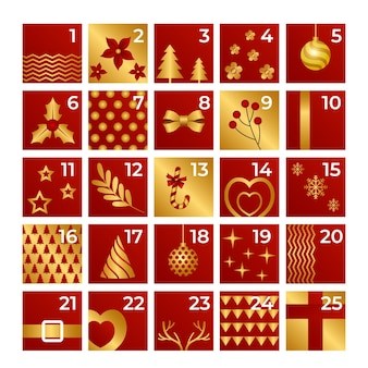 Goldener adventskalender