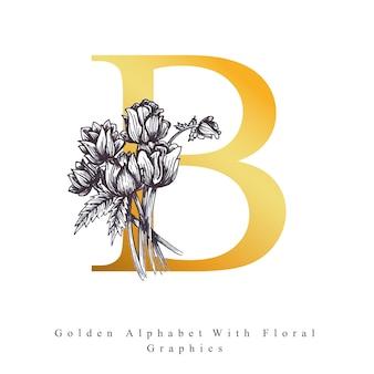 Goldener alphabet-buchstabe b