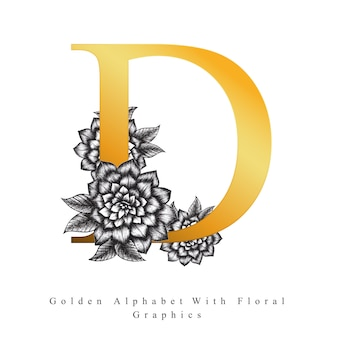 Goldener alphabet-buchstabe d