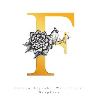 Goldener alphabet-buchstabe f