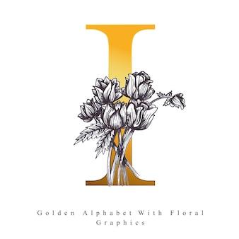 Goldener alphabet-buchstabe i