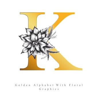 Goldener alphabet-buchstabe k