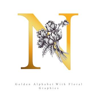 Goldener alphabet-buchstabe n