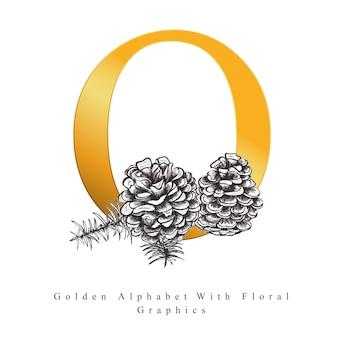 Goldener alphabet-buchstabe o