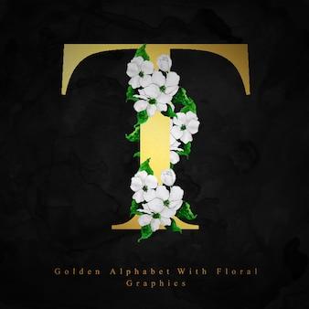 Goldener alphabet-buchstabe t aquarell-blumenhintergrund