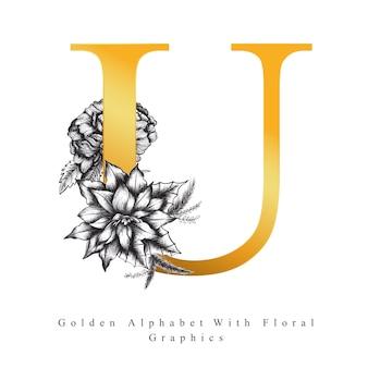 Goldener alphabet-buchstabe u