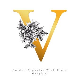 Goldener alphabet-buchstabe v