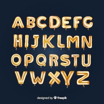Goldener alphabetballon