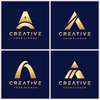 Goldener anfangsbuchstabe ein logo-design mit swoosh-element.
